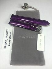 New 100% AUTH Michele Violet Purple Leather Watch Band Strap $100 18mm 20mm