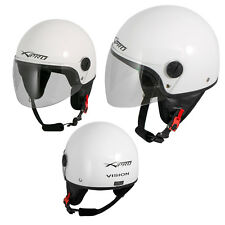 Open Face Jet Helmet Moped Motorbike Scooter Antiscratch Visor White