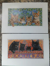 CAT FAMILY BLACK OR TABBY CATS GREETINGS CARD BLANK INSIDE GC 46