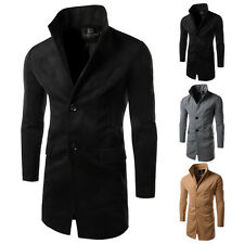 Fashion Men's Slim Fit Single Breasted Wool Blends Trench Coat New Jacket Blazer