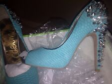 Sam Edelman Turquoise Leather Peep Toe Studded Heels Size UK4 / EU37