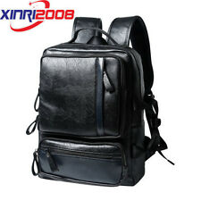 Black Men Women Backpacks Pu Leather Rucksack School Travel Shoulder Laptop Bag