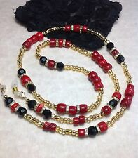 Black Glass Crystal Red Bamboo Coral Eyeglass Chain W/Crystal Rondelles USA
