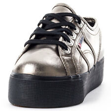Superga 2790 Metallic Womens Trainers Grey Black New Shoes