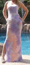 Maya Antonia-L SIZE- Tie-Dye Purple-White-Coral Sexy Maxi Dress,Extra Long