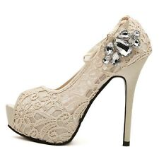 Womens Rhinestone Lace Wedding Bridal Shoes High Heels Platform Peep Toe Pumps