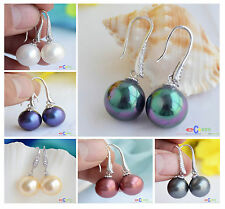 X0057 14MM ROUND SOUTH SEA SHELL PEARL DANGLE EARRING DIAMOND