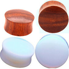 2 PAIR-OPALITE STONE PLUGS & CONVEX RED TIGER WOOD PLUGS -Ear Plugs-Ear Gauges