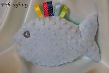 soft MINKY and cotton FISH- soft toy- size 18cm x 22cm- ribbons