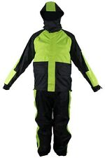 MEN'S MOTORCYCLE RAIN GEAR RAIN SUIT WATERPROOF LIGHTWEIGHT NEON GREEN COLOR