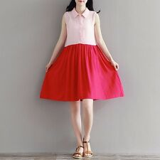 Korean Students Casual Preppy Sleeveless Lapel High Waist Blouse Flared Dress