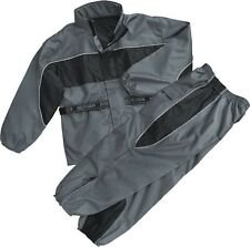 MOTORCYCLE RAIN GEAR MEN'S RAIN SUIT WATERPROOF LIGHTWEIGHT BLK/GREY COLOR