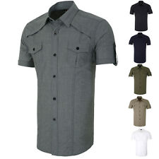 Classic Mens Short sleeve Button-Down Business Work Smart Formal Casual Shirts