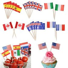 100x Mini Toothpick Pick Flags Cocktail Flag 11 Countries & World Flags Britain