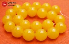 "SALE Big 18mm Natural Round shape yellow Jade Loose Beads strand 15"" -los678"