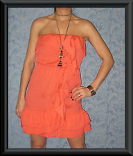 Coral Ruffle Bodice & Draped Trim Strapless Silky Races Summer Cocktail Dress