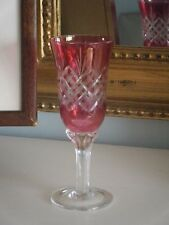 6 beautiful cut glass vintage cranberry coloured sherry liqueur glasses - boxed