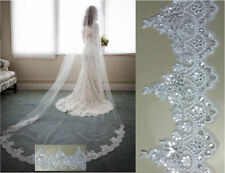 New 1 Layer Lace Edge Sequins Bridal Long Veil Cathedral Wedding Bridal Veil  A6