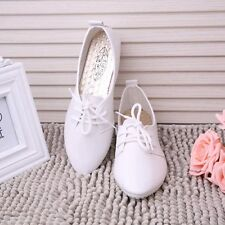 Women Fashion Lace-up Pumps Flat Shoes Loafers Solid Point Toe Pointed Moccasins
