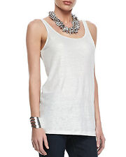 Eileen Fisher Linen Shimmer Silver Scoop Neck Tank Top