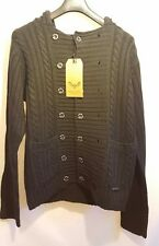 Bravesoul mens knitted hooded cardigan 2 side buttons