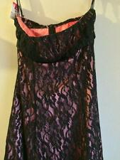 WOMANS STRAPLESS FORMAL BRIDESMAID COCKTAIL DRESS BLACK LACE AND APRICOT