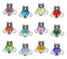 Sterling Silver Owl Ring with SWAROVSKI 6228 Heart * Crystal Colors with Effect