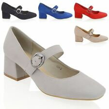 WOMENS BLOCK HEEL PUMPS LADIES STRAP MARY JANE BUCKLE COURT SHOES SIZE UK 3-8