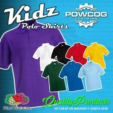 FRUIT OF THE LOOM Plain 65/35 Polo Shirts Children's Youth Boys Girls T Shirt