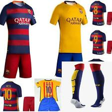 new 15-16  BARCELONA football kit shirt and short +socks 3-14 years MESSI NEYMAR