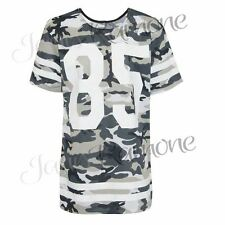 New Womens Army Camouflage 85 Printed Baseball Varsity Striped Baggy T Shirt Top