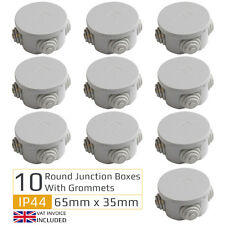 10 x Round Electric IP44 Junction Box & Grommets Outdoor Waterproof 65 x 35mm