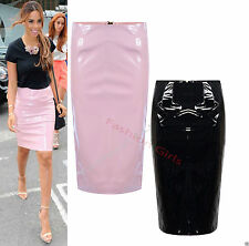 New Ladies Womens Celebs PU Wet Look PVC Zip Back Pencil Mini Party Skirt 8-14