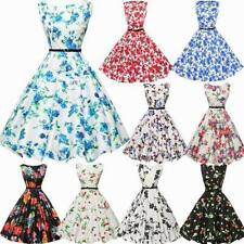 Womens Vintage 50S Floral Retro Rockabilly Evening Party Skater Swing Tea Dress