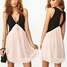Fashion Women Sexy Deep V Neck Chiffon Club Cocktail Party Evening Mini Dress US