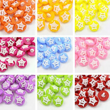 100pcs DIY Acrylic Shank Buttons for Clothes Design 1-Hole Dyed Round Smile Star