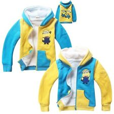 2Color Minions Despicable Me Kids Boys Girls Fleece Winter Hoodie Zipper Coats