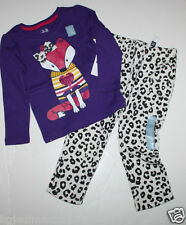 baby Gap NWT Girl 3T 4T Outfit Set Mixed Media Top + Knit Cargo Leopard Pants