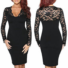 Women's V Neck Floral Long Sleeves Knee Length Cocktail Party Pencil Lace Dress