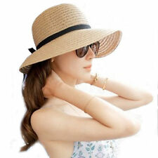 Top Floppy Foldable Ladies Women Straw Beach Sun Summer Hat One Size Wide Brim