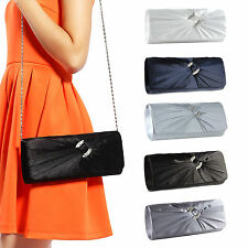 Satin Diamante Pleated Bridal Clutch Bag Women Evening Bag Handbag Purse