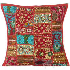 """LARGE SELECTION - 16"""" BURGUNDY PATCHWORK THROW CUSHION PILLOW COVER India Decor"""
