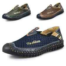 New Summer Mens Driving Slip on Loafers Leather Breathable Mesh Casual Shoes