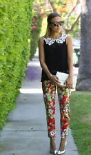 Anthropologie Kelly Poppy Pants Size 6,  Floral Print Sateen Crops, Peter Som