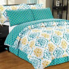 NEW Twin Full Queen King Bed Blue Gold Damask Geometric 8pc Comforter Sheets Set