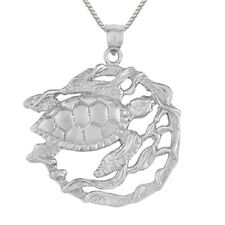 "Sterling Silver TURTLE Pendant, Made in USA, 18"" Italian Box Chain"