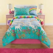 NEW Twin Full Bed Bag Unicorn Floral Rainbow Reversible 8pc Comforter Sheets Set