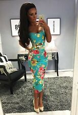 UK New Ladies Womens Celeb Floral Print Bodycon Midi Strap Cami Dress