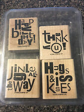 Stampin' Up Alphabet Soup Wood Rubber Stamp Set 4 Birthday Thank You Hugs Kisses
