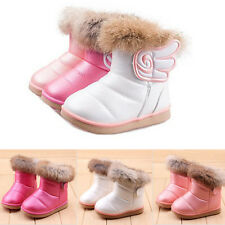 New Hot Baby Kid Girls Warm Fur Winter Snow Boots Toddler Leather Shoes 10 Sizes